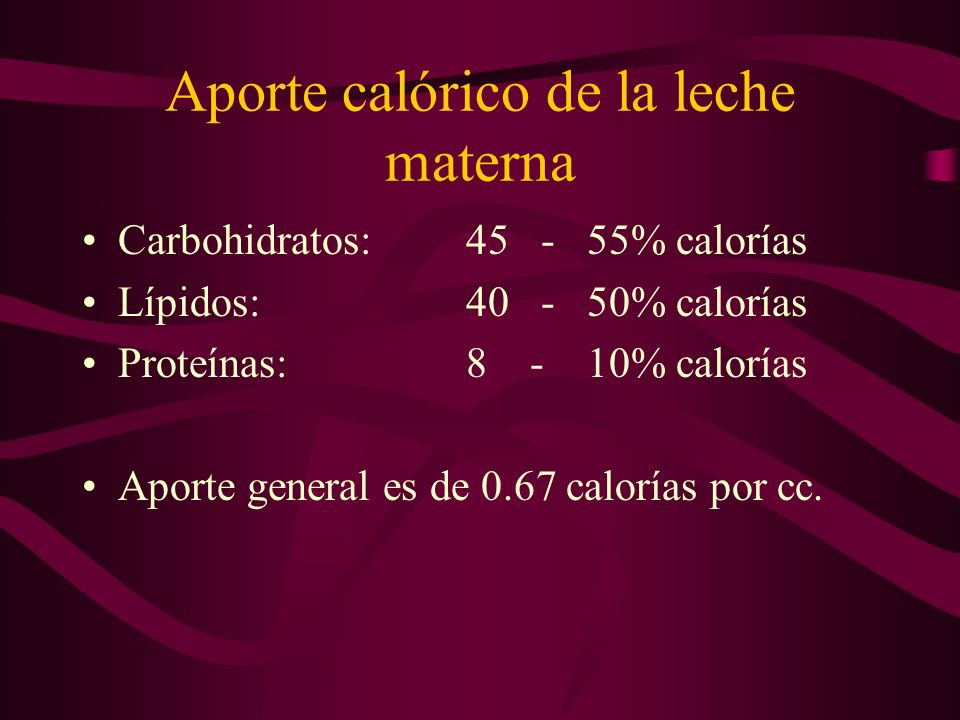 Aporte calórico de la leche materna