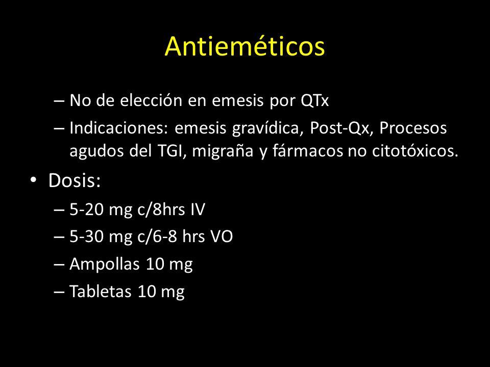 Antieméticos Dosis: No de elección en emesis por QTx