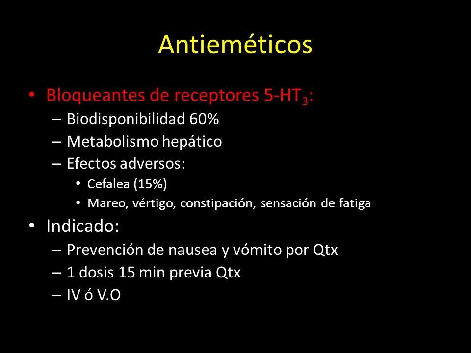 Antieméticos Bloqueantes de receptores 5-HT3: Indicado: