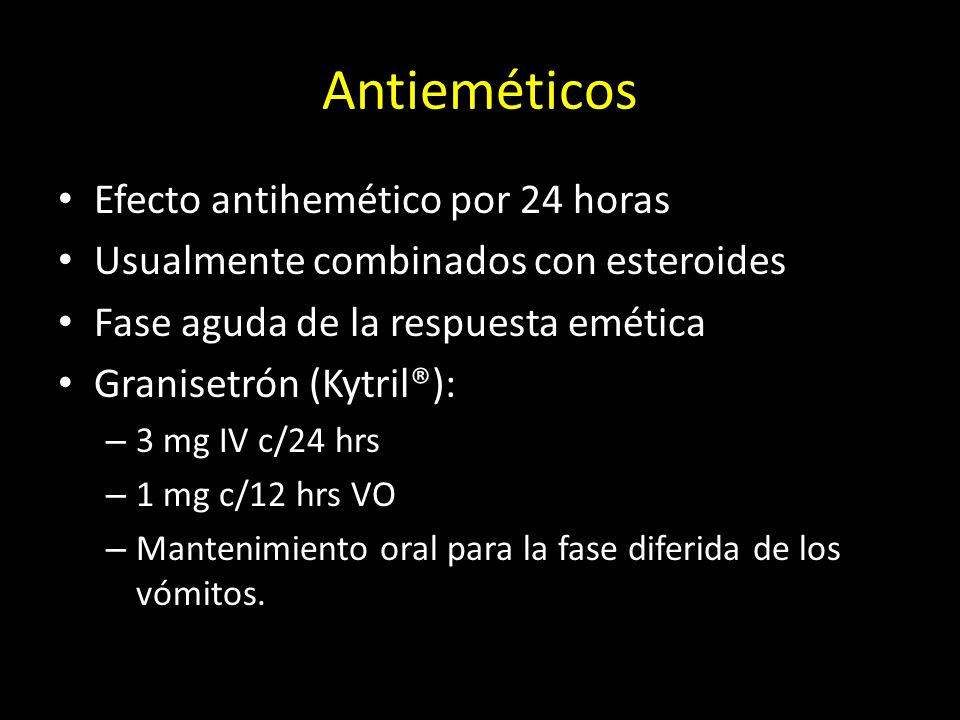 Antieméticos Efecto antihemético por 24 horas