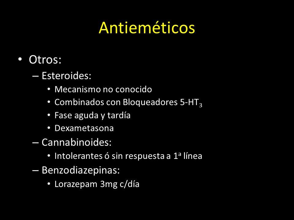 Antieméticos Otros: Esteroides: Cannabinoides: Benzodiazepinas:
