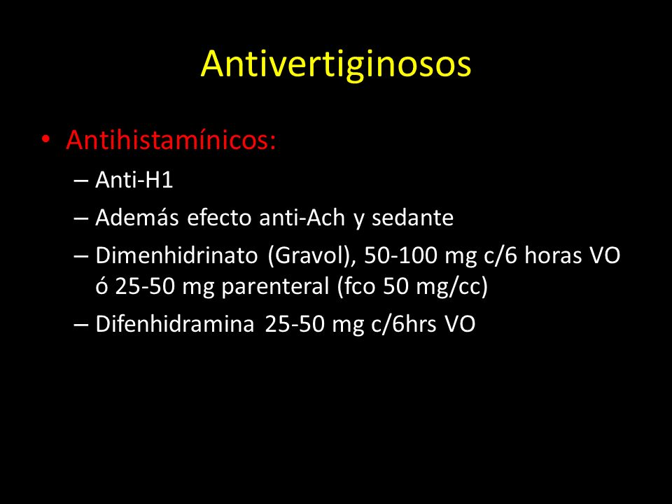Antivertiginosos Antihistamínicos: Anti-H1