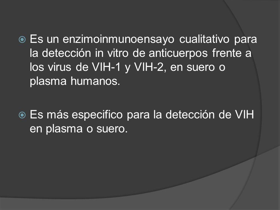 Es un enzimoinmunoensayo cualitativo para la detección in vitro de anticuerpos frente a los virus de VIH-1 y VIH-2, en suero o plasma humanos.