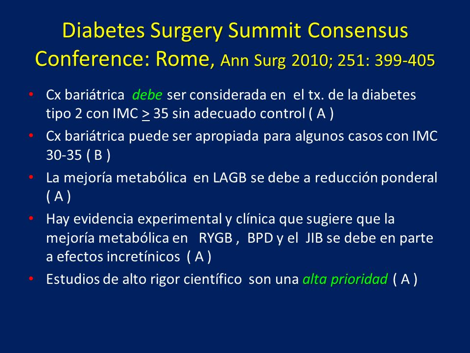 Diabetes Surgery Summit Consensus Conference: Rome, Ann Surg 2010; 251: 399-405