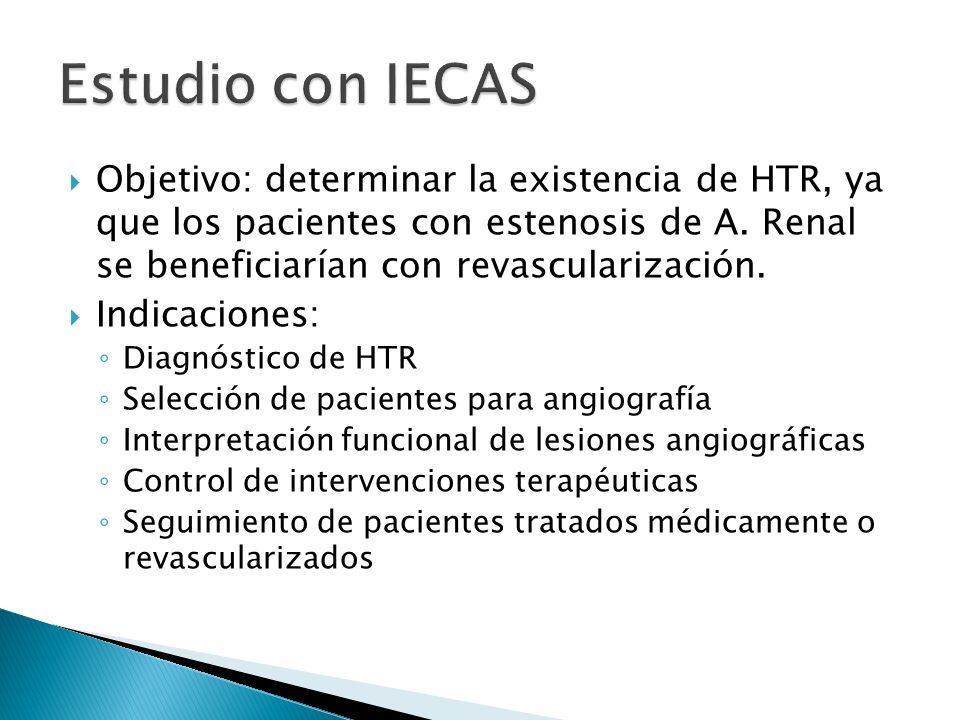 Estudio con IECAS Objetivo: determinar la existencia de HTR, ya que los pacientes con estenosis de A. Renal se beneficiarían con revascularización.