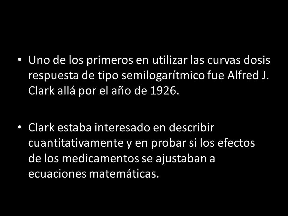 Uno de los primeros en utilizar las curvas dosis respuesta de tipo semilogarítmico fue Alfred J. Clark allá por el año de 1926.