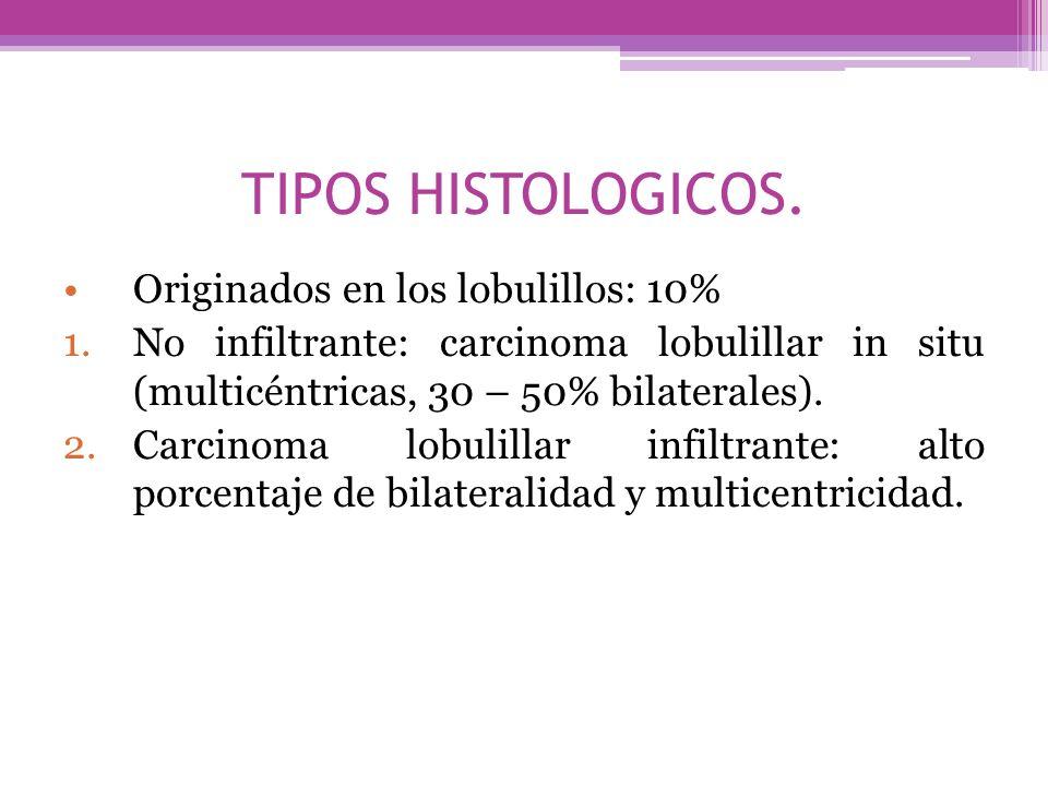 TIPOS HISTOLOGICOS. Originados en los lobulillos: 10%