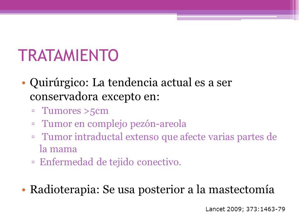 TRATAMIENTOQuirúrgico: La tendencia actual es a ser conservadora excepto en: Tumores >5cm. Tumor en complejo pezón-areola.