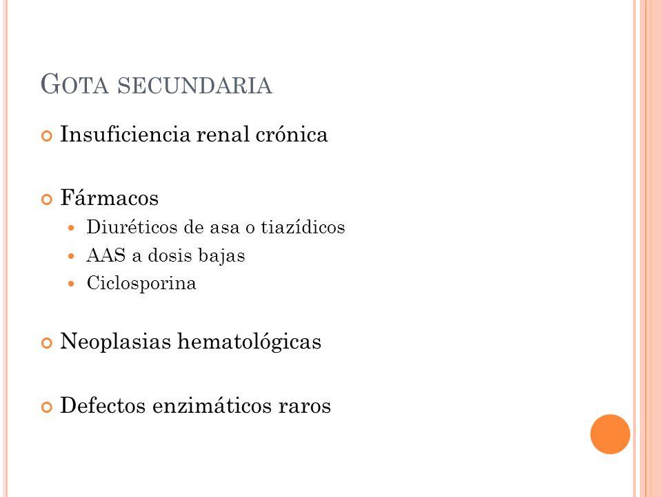 Gota secundaria Insuficiencia renal crónica Fármacos