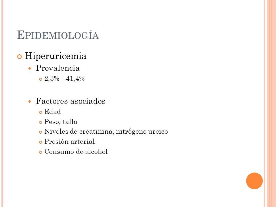 Epidemiología Hiperuricemia Prevalencia Factores asociados