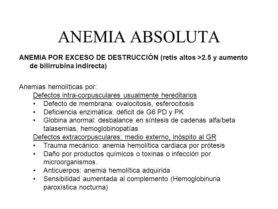 ANEMIA ABSOLUTA ANEMIA POR EXCESO DE DESTRUCCIÓN (retis altos >2.5 y aumento de bilirrubina indirecta)