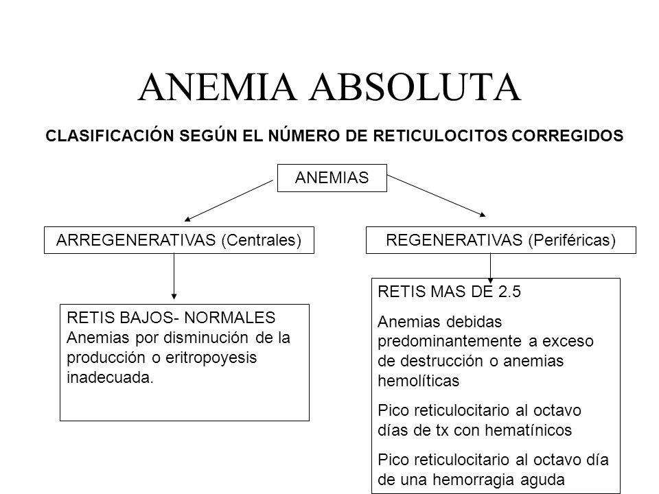 ANEMIA ABSOLUTA CLASIFICACIÓN SEGÚN EL NÚMERO DE RETICULOCITOS CORREGIDOS. ANEMIAS. ARREGENERATIVAS (Centrales)
