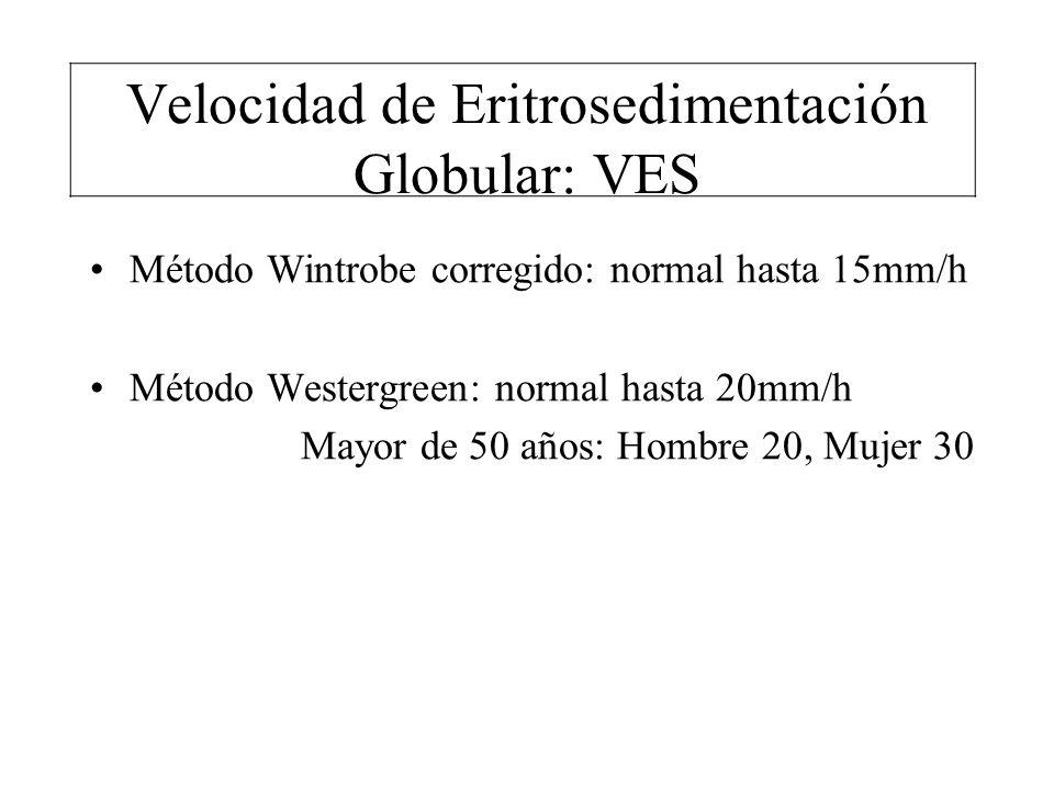 Velocidad de Eritrosedimentación Globular: VES