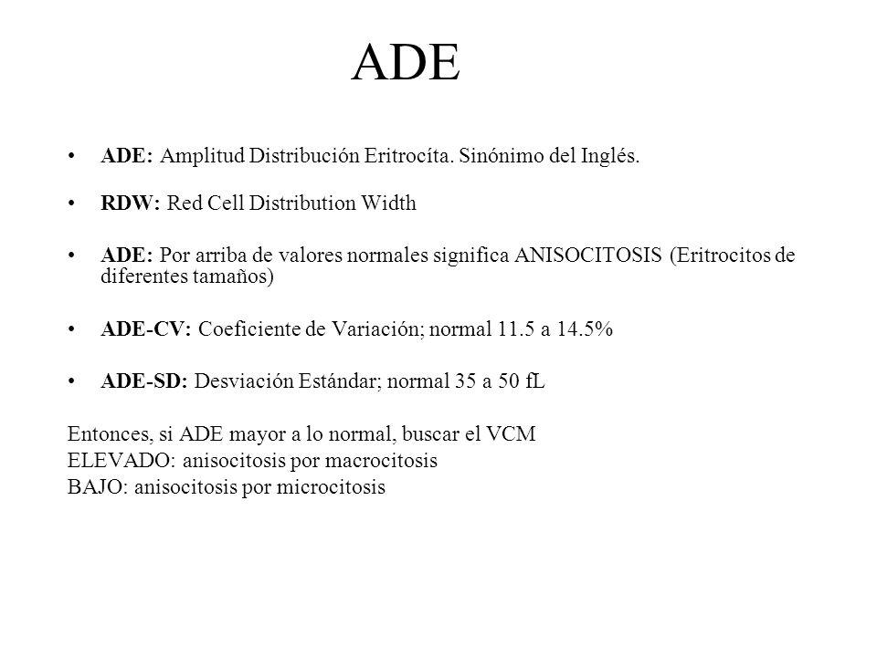ADE ADE: Amplitud Distribución Eritrocíta. Sinónimo del Inglés.