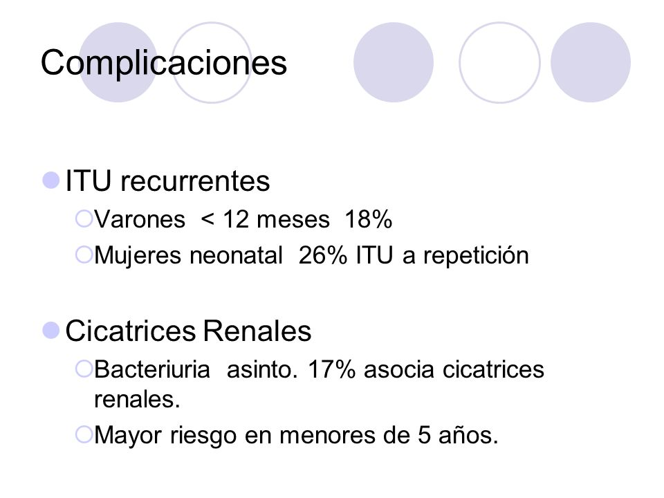 Complicaciones ITU recurrentes Cicatrices Renales