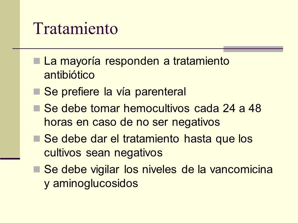 Tratamiento La mayoría responden a tratamiento antibiótico