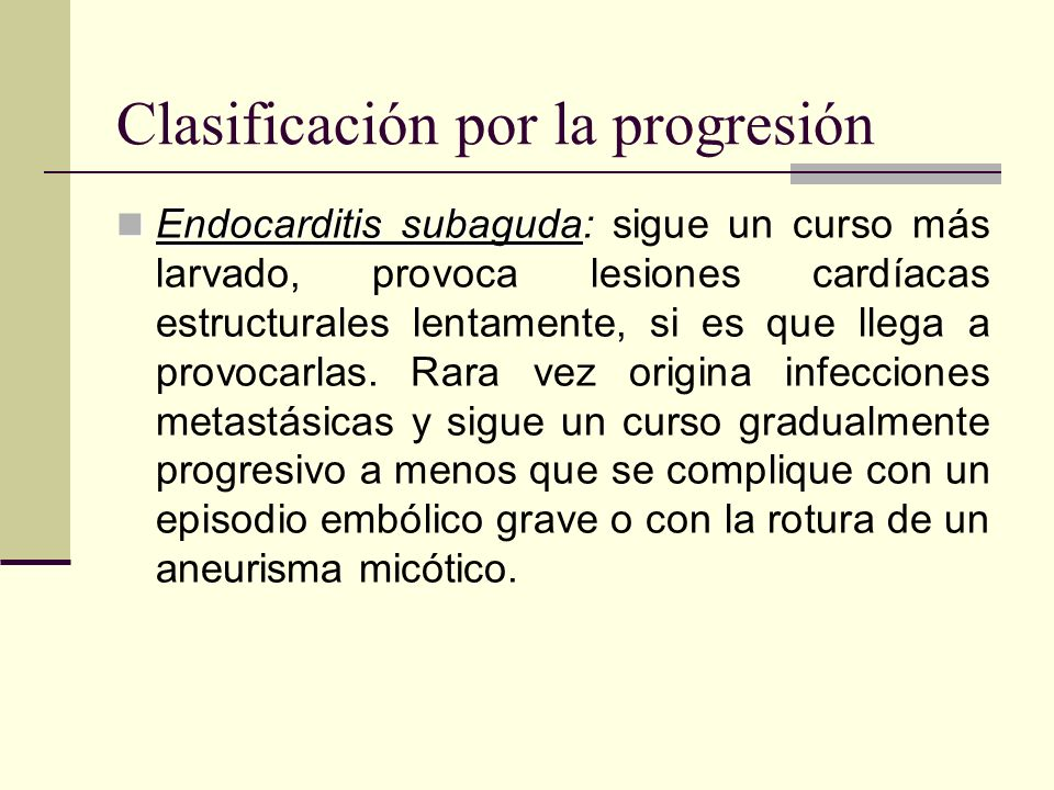 Clasificación por la progresión