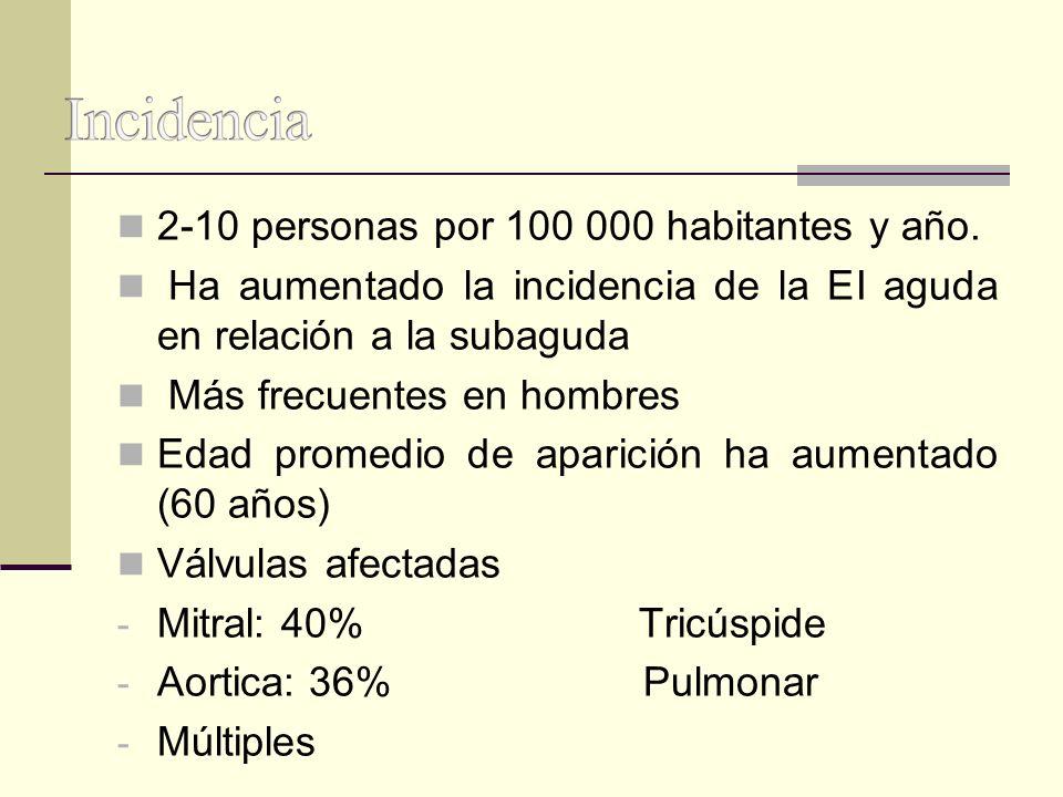 Incidencia 2-10 personas por 100 000 habitantes y año.