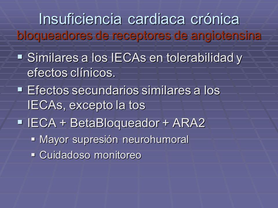 Insuficiencia cardiaca crónica bloqueadores de receptores de angiotensina