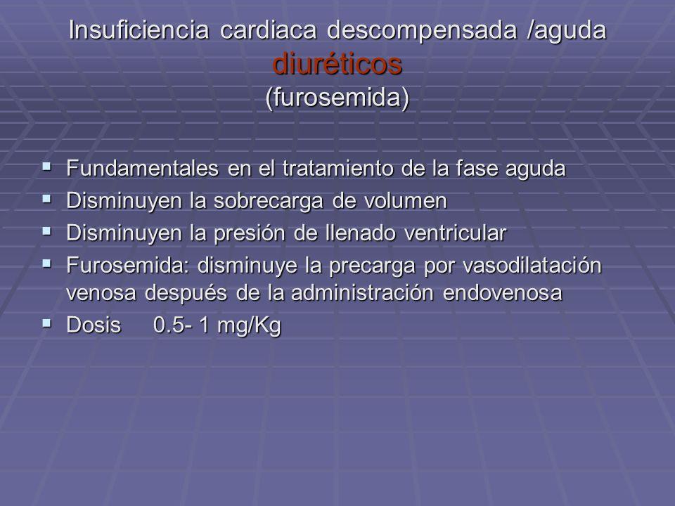 Insuficiencia cardiaca descompensada /aguda diuréticos (furosemida)