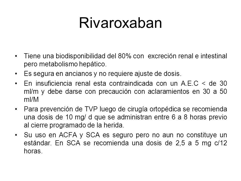 Rivaroxaban Tiene una biodisponibilidad del 80% con excreción renal e intestinal pero metabolismo hepático.