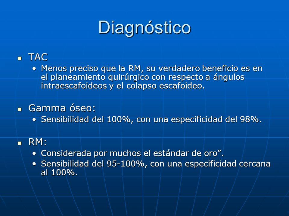 Diagnóstico TAC Gamma óseo: RM:
