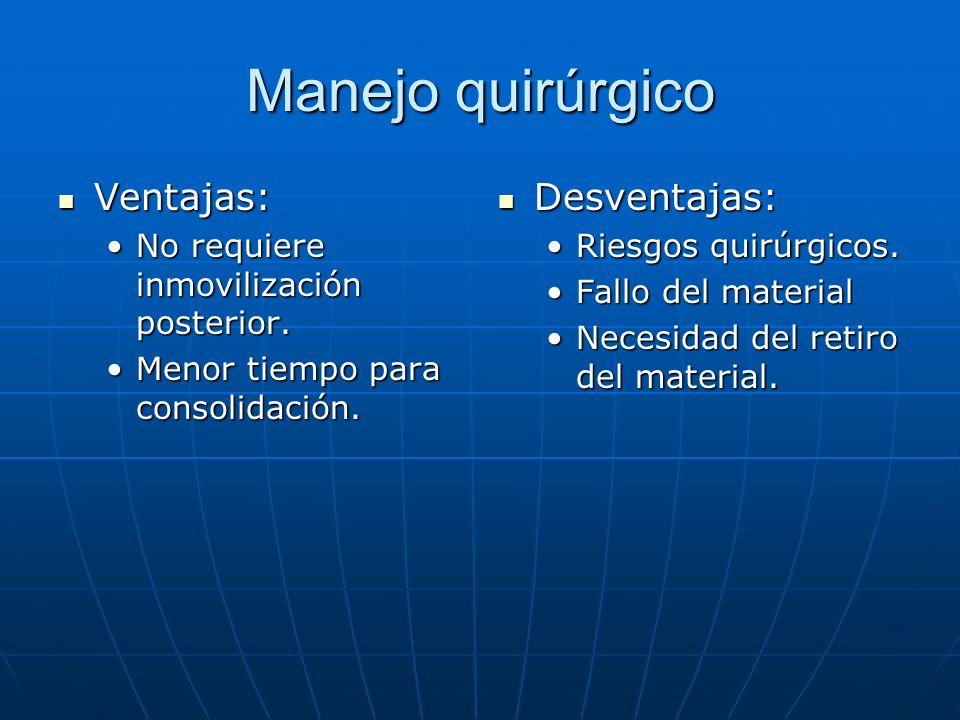 Manejo quirúrgico Ventajas: Desventajas: