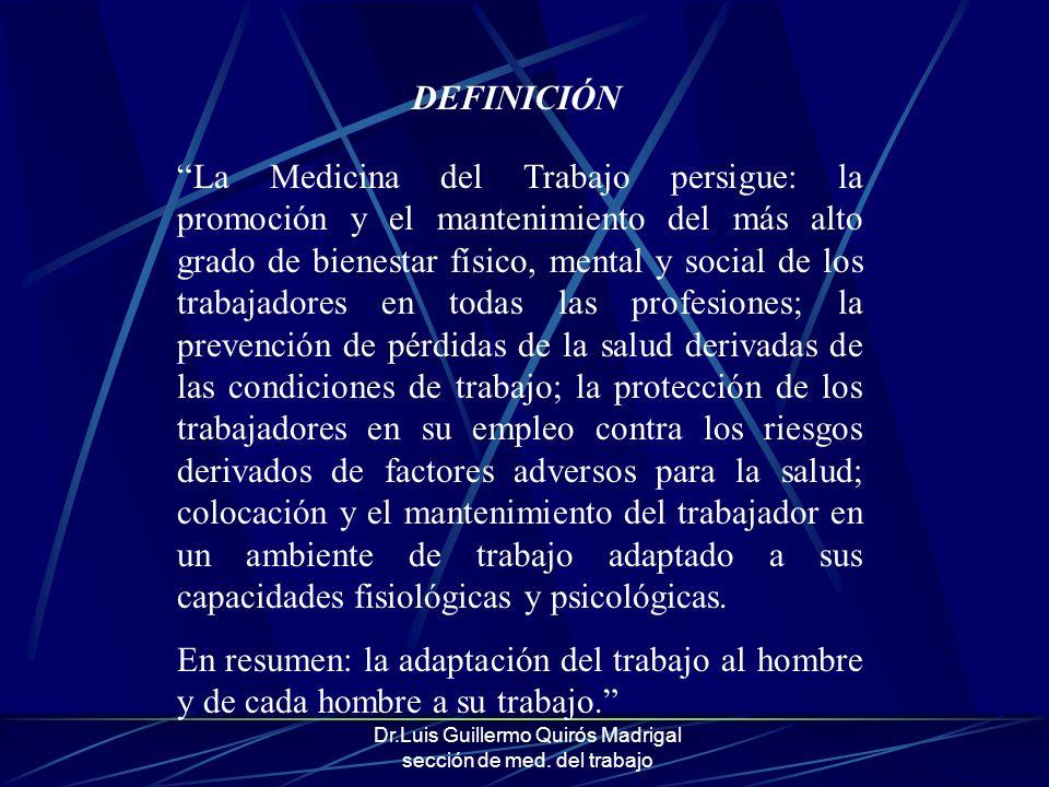 Dr.Luis Guillermo Quirós Madrigal sección de med. del trabajo