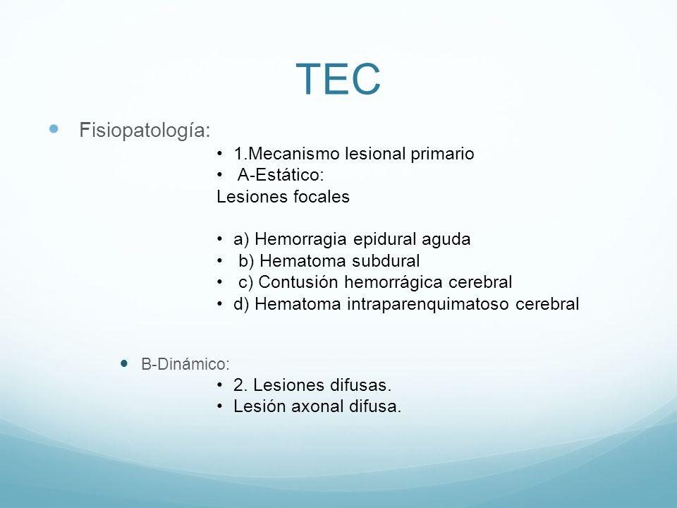 TEC Fisiopatología: 1.Mecanismo lesional primario A-Estático: