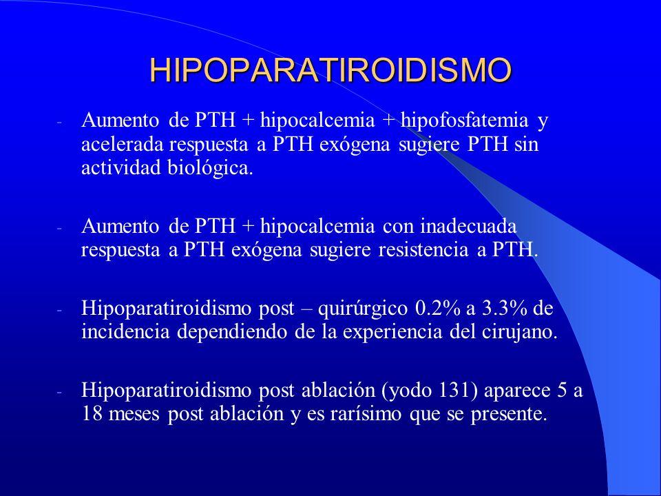HIPOPARATIROIDISMO Aumento de PTH + hipocalcemia + hipofosfatemia y acelerada respuesta a PTH exógena sugiere PTH sin actividad biológica.