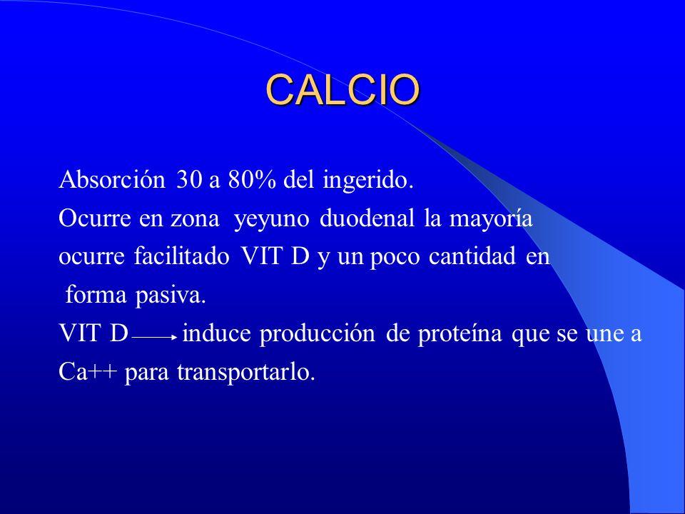 CALCIO Absorción 30 a 80% del ingerido.