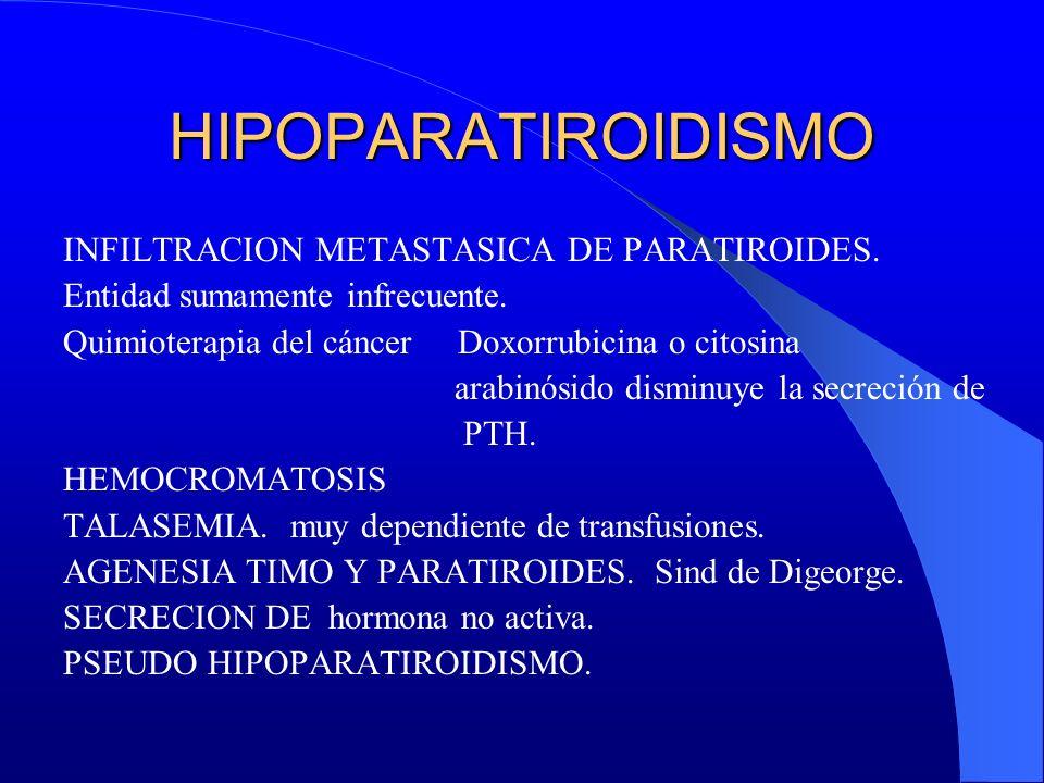 HIPOPARATIROIDISMO INFILTRACION METASTASICA DE PARATIROIDES.