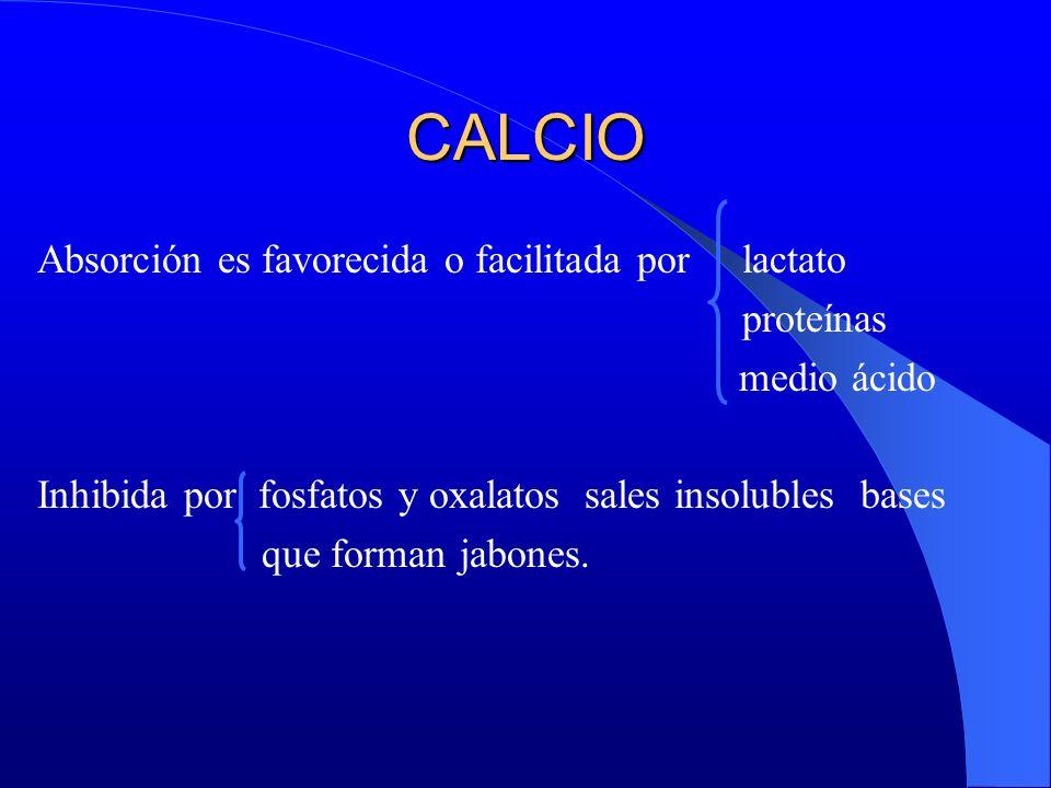 CALCIO Absorción es favorecida o facilitada por lactato proteínas