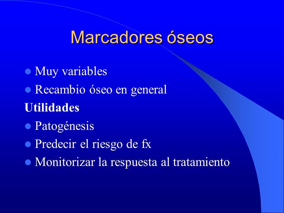 Marcadores óseos Muy variables Recambio óseo en general Utilidades
