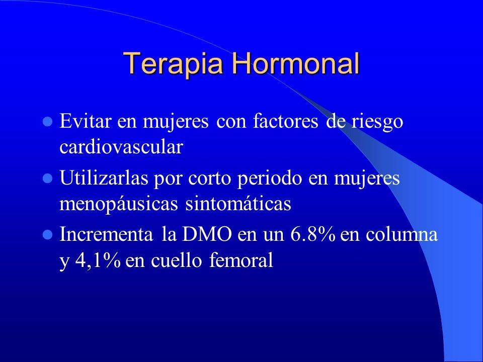 Terapia Hormonal Evitar en mujeres con factores de riesgo cardiovascular. Utilizarlas por corto periodo en mujeres menopáusicas sintomáticas.