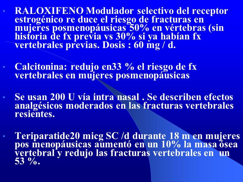 RALOXIFENO Modulador selectivo del receptor estrogénico re duce el riesgo de fracturas en mujeres posmenopáusicas 50% en vértebras (sin historia de fx previa vs 30% si ya habían fx vertebrales previas. Dosis : 60 mg / d.