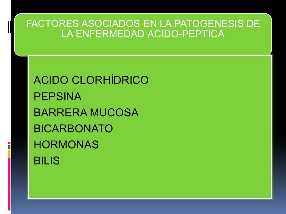 FACTORES ASOCIADOS EN LA PATOGENESIS DE LA ENFERMEDAD ACIDO-PEPTICA