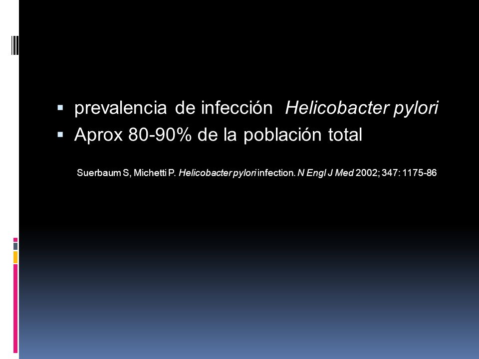 prevalencia de infección Helicobacter pylori