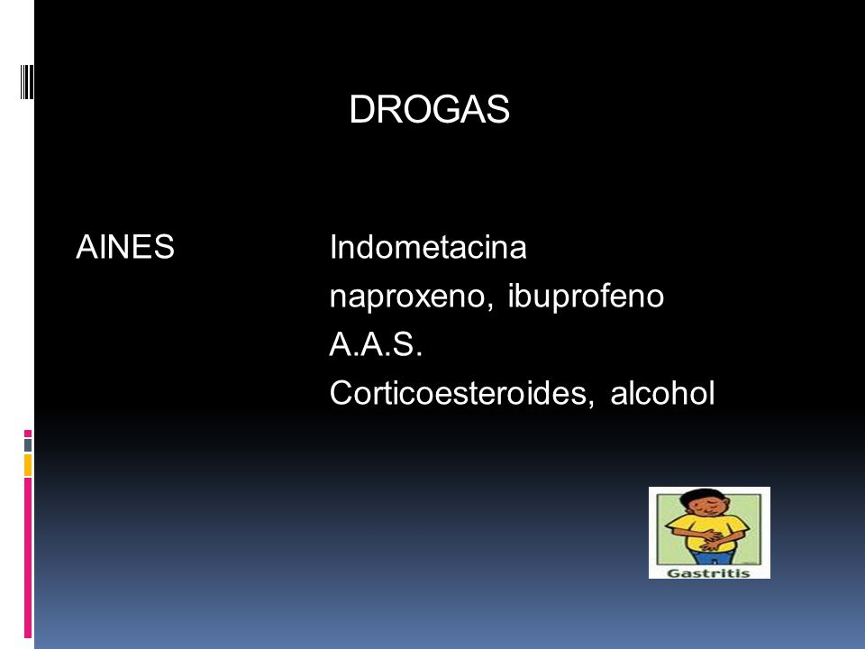 DROGAS AINES Indometacina naproxeno, ibuprofeno A.A.S. Corticoesteroides, alcohol 15