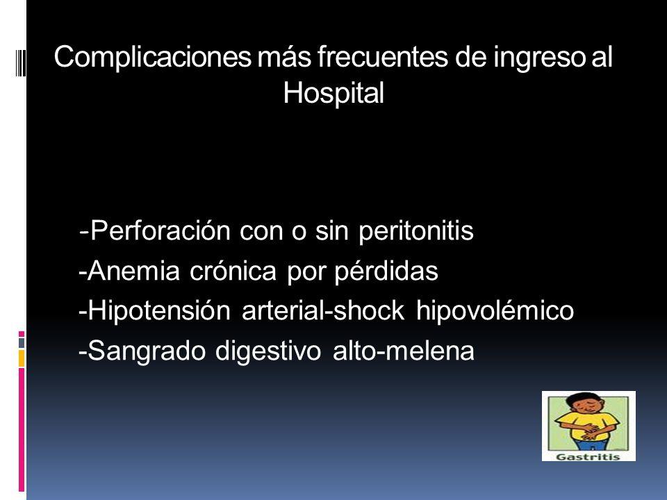 Complicaciones más frecuentes de ingreso al Hospital