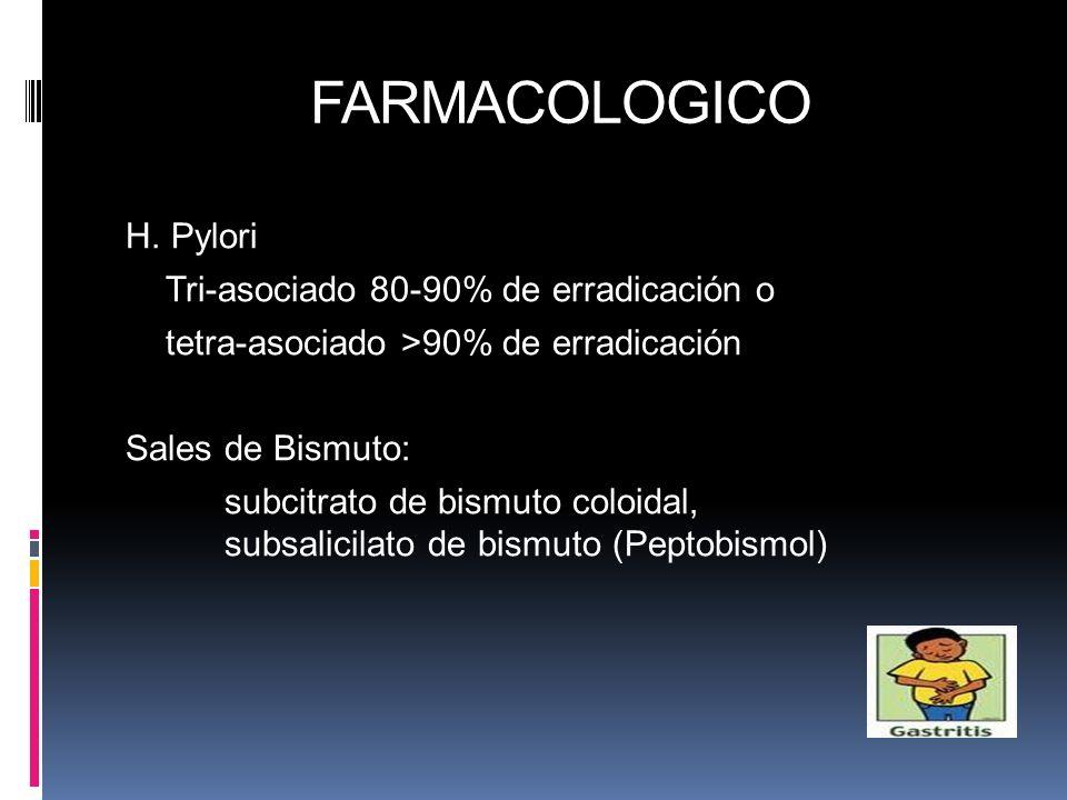 FARMACOLOGICO H. Pylori Tri-asociado 80-90% de erradicación o