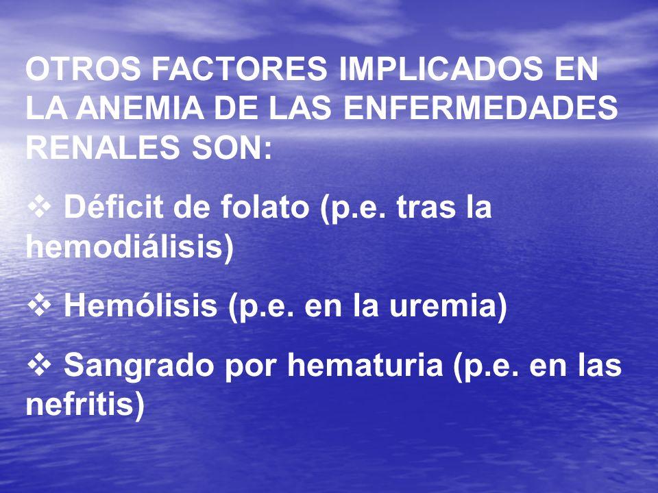 OTROS FACTORES IMPLICADOS EN LA ANEMIA DE LAS ENFERMEDADES RENALES SON: