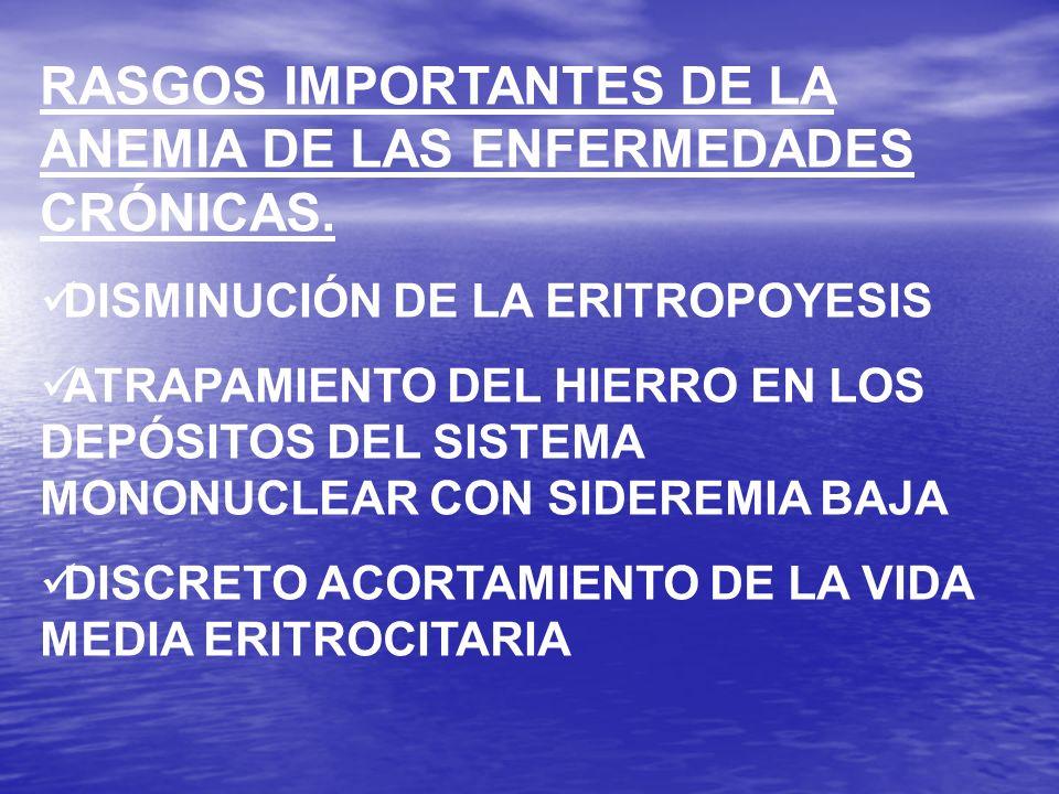 RASGOS IMPORTANTES DE LA ANEMIA DE LAS ENFERMEDADES CRÓNICAS.