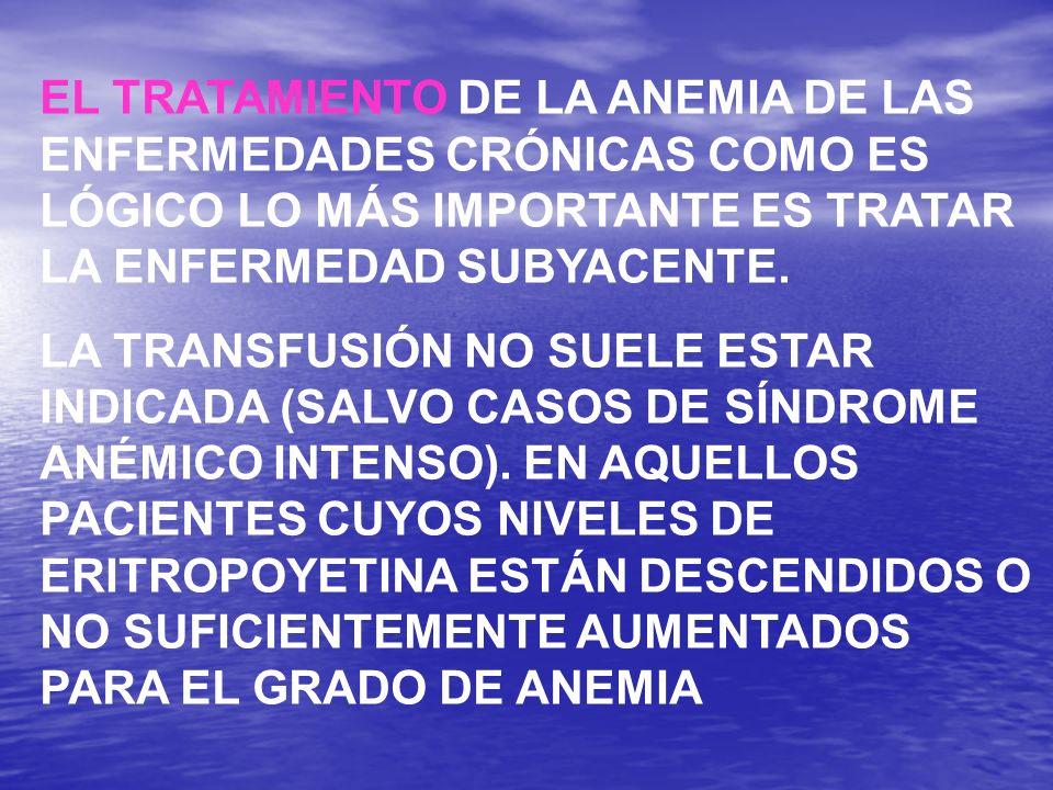 EL TRATAMIENTO DE LA ANEMIA DE LAS ENFERMEDADES CRÓNICAS COMO ES LÓGICO LO MÁS IMPORTANTE ES TRATAR LA ENFERMEDAD SUBYACENTE.