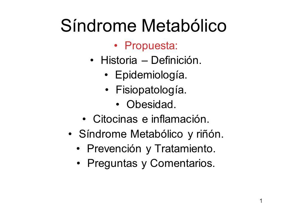 Síndrome Metabólico Propuesta: Historia – Definición. Epidemiología.