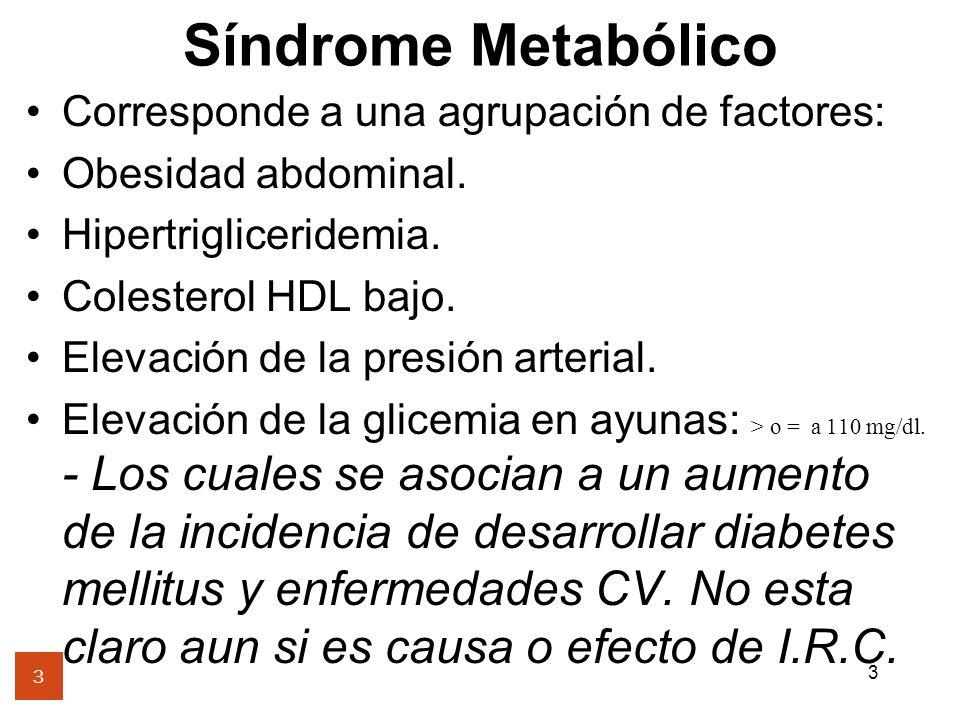 Corresponde a una agrupación de factores: Obesidad abdominal.
