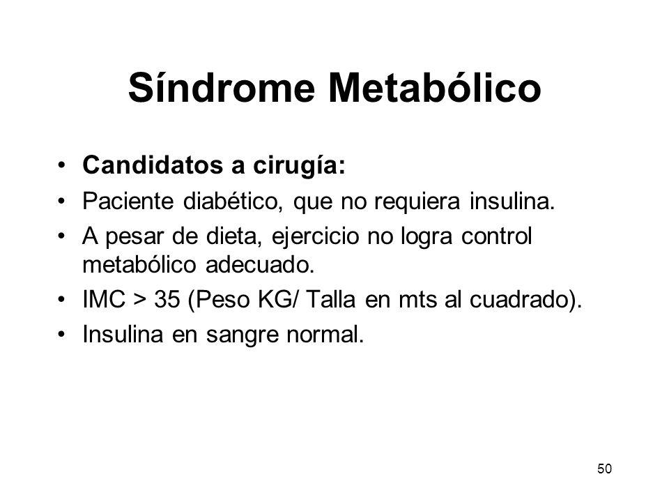 Síndrome Metabólico Candidatos a cirugía: