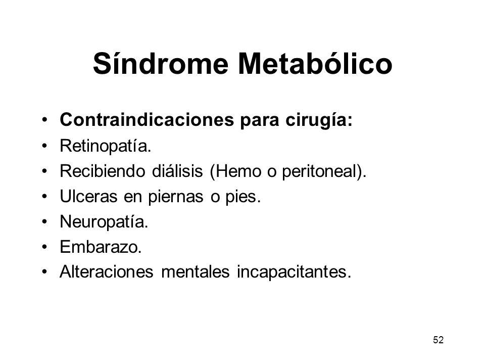 Síndrome Metabólico Contraindicaciones para cirugía: Retinopatía.