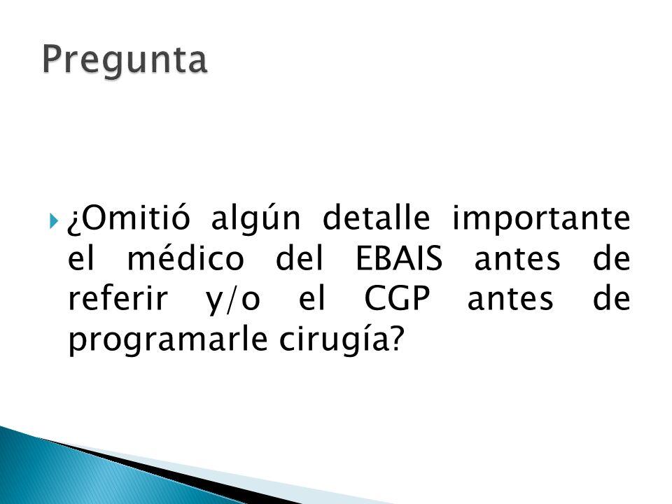 Pregunta ¿Omitió algún detalle importante el médico del EBAIS antes de referir y/o el CGP antes de programarle cirugía