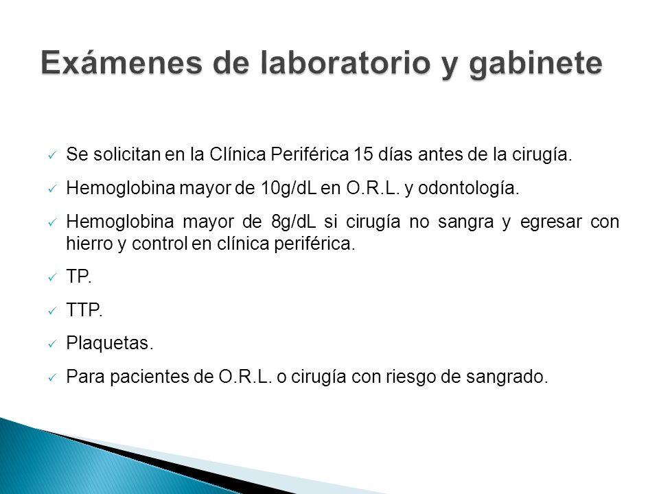 Exámenes de laboratorio y gabinete